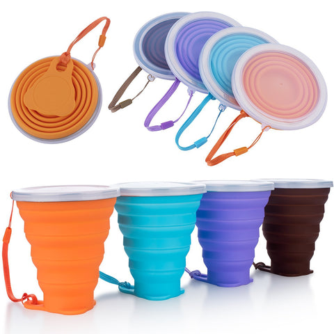 Recyclable Silicone Collapsible Travel Cup, BPA Free Reusable Portable Drinking Cup
