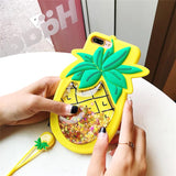 Pineapple Liquid Quicksand 3D iPhone Case