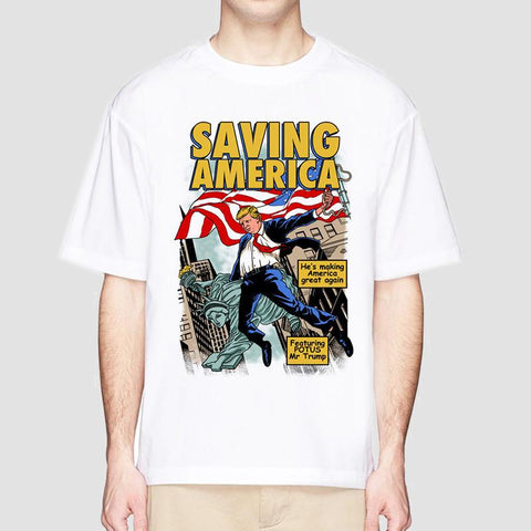 Cotton S-XXXL Men's Support Trump T Shirts Funny Graphic 'SAVING AMERICA' President Funny White TEE 2019 Summer Short Sleeve - Moreflag.com