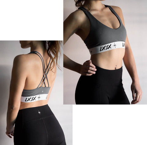 Model picture of LXIX Athletica LXIX Classic Sportsbra in Midnight Gray Front and Back