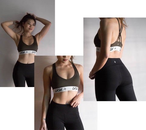 Model picture of LXIX Athletica LXIX Classic Sportsbra in Forest Green Front and Back