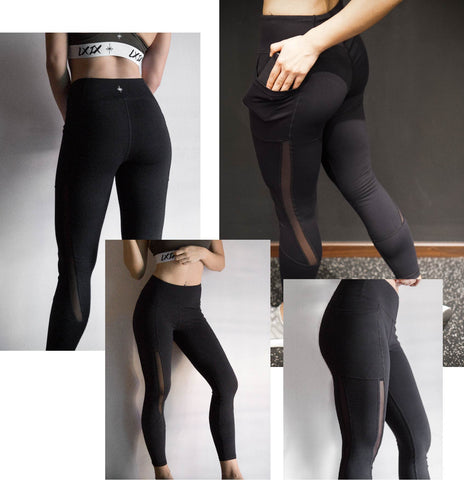 Model picture of LXIX Athletica LXIX Mesh Leggings in Black Front and Back