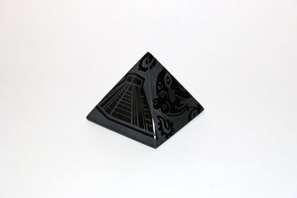 Obsidan Carved Pyramid