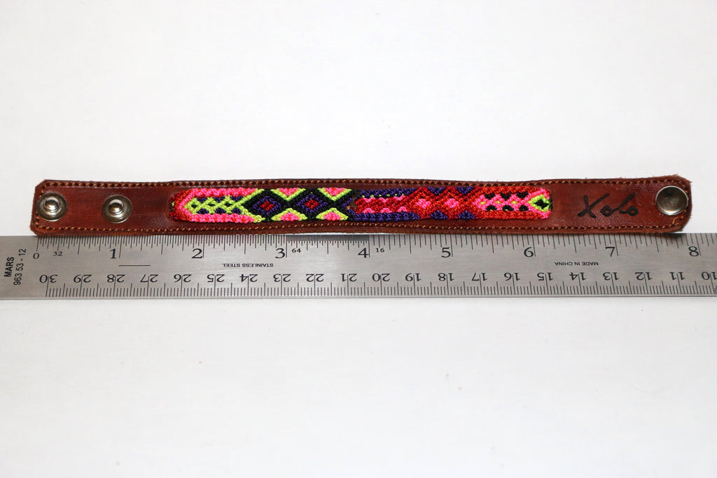 Brown Leather/Handwoven Bracelet