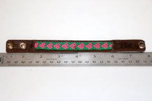 Dark Brown Leather/Handwoven Bracelet