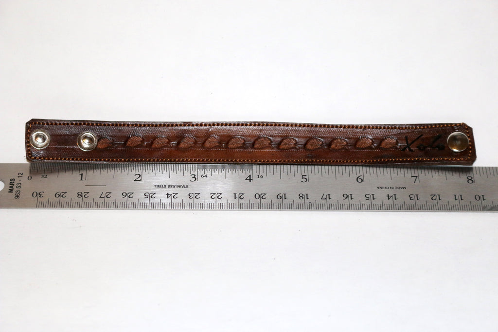 Brown Stamped Leather Bracelet