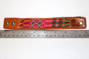Medium Brown Leather/Handwoven Bracelet