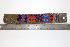 Medium Green Leather/Handwoven Bracelet