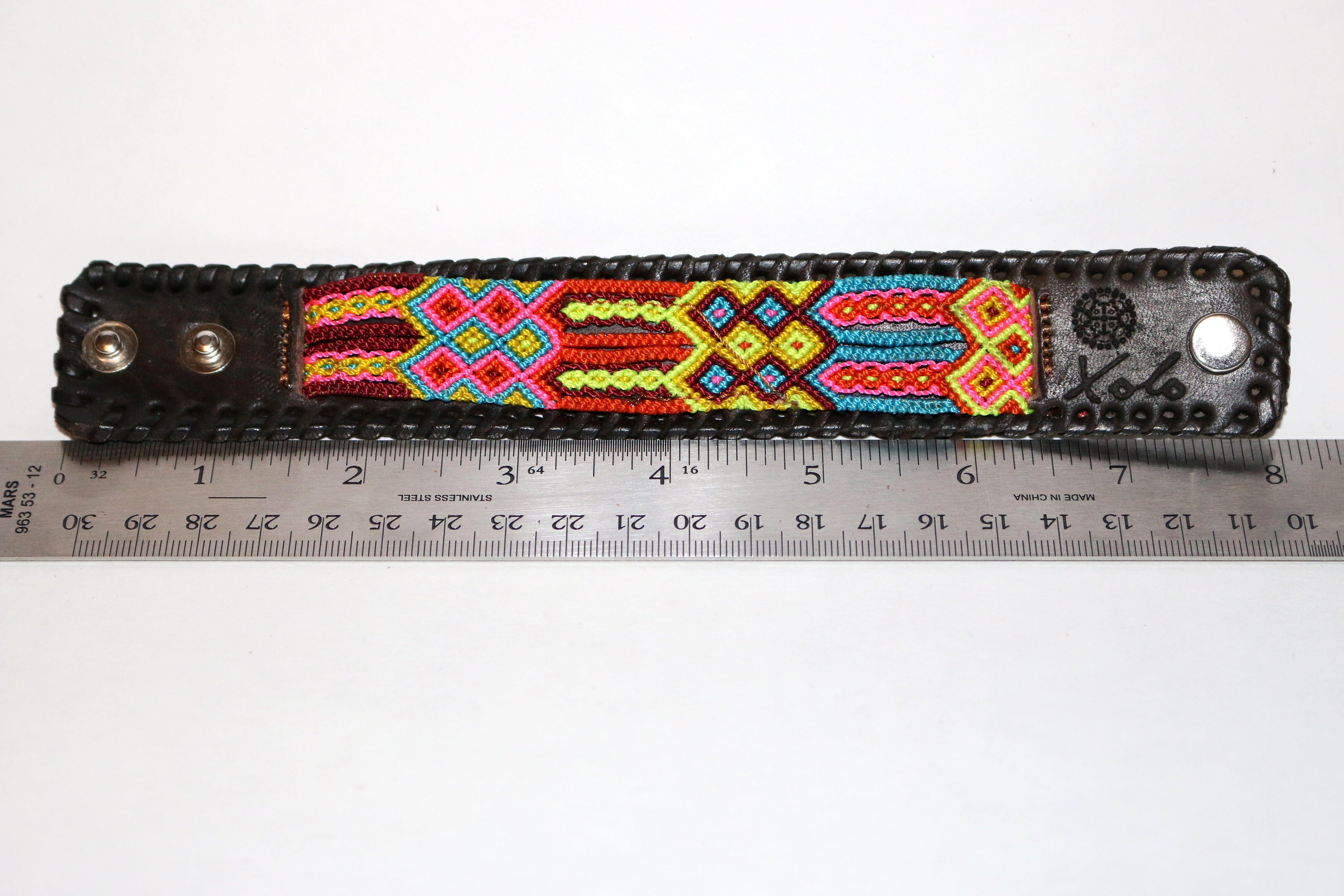 Medium Dark Brown Leather/Handwoven Bracelet