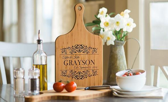 Personalized Handled Wood Serving Boards