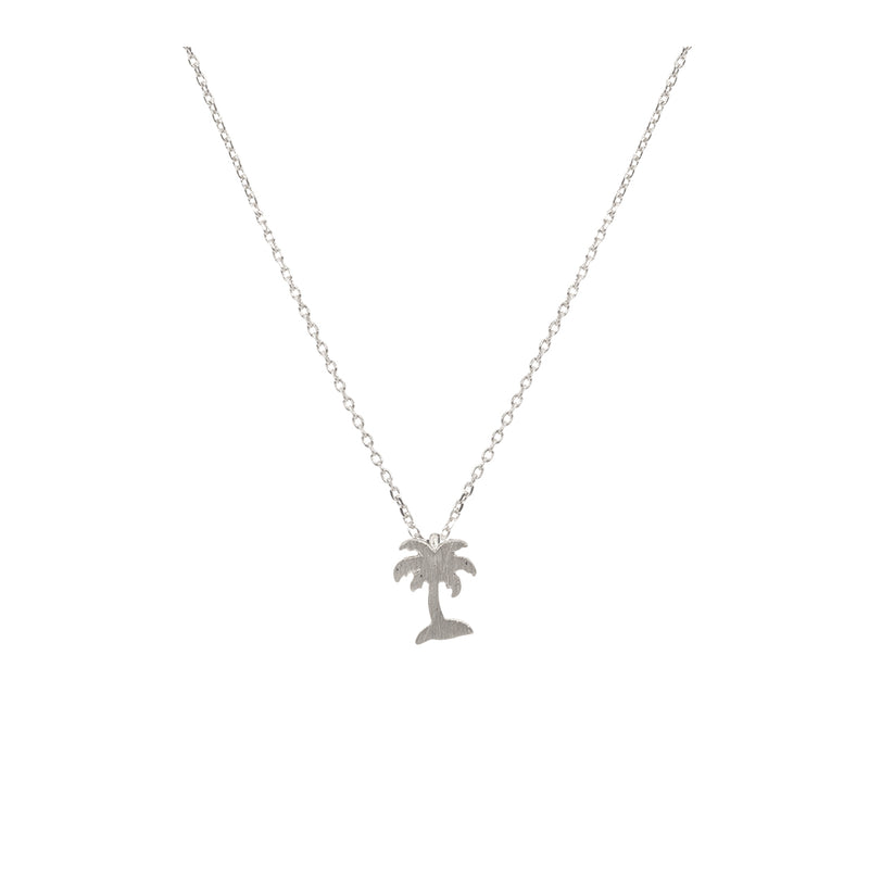 Palm Tree Necklace Silver