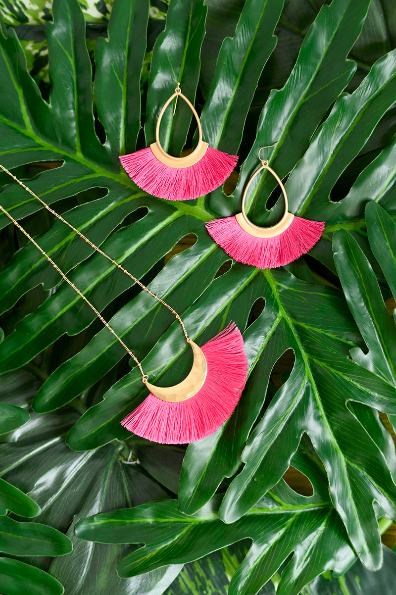 Pink Fringe Necklace