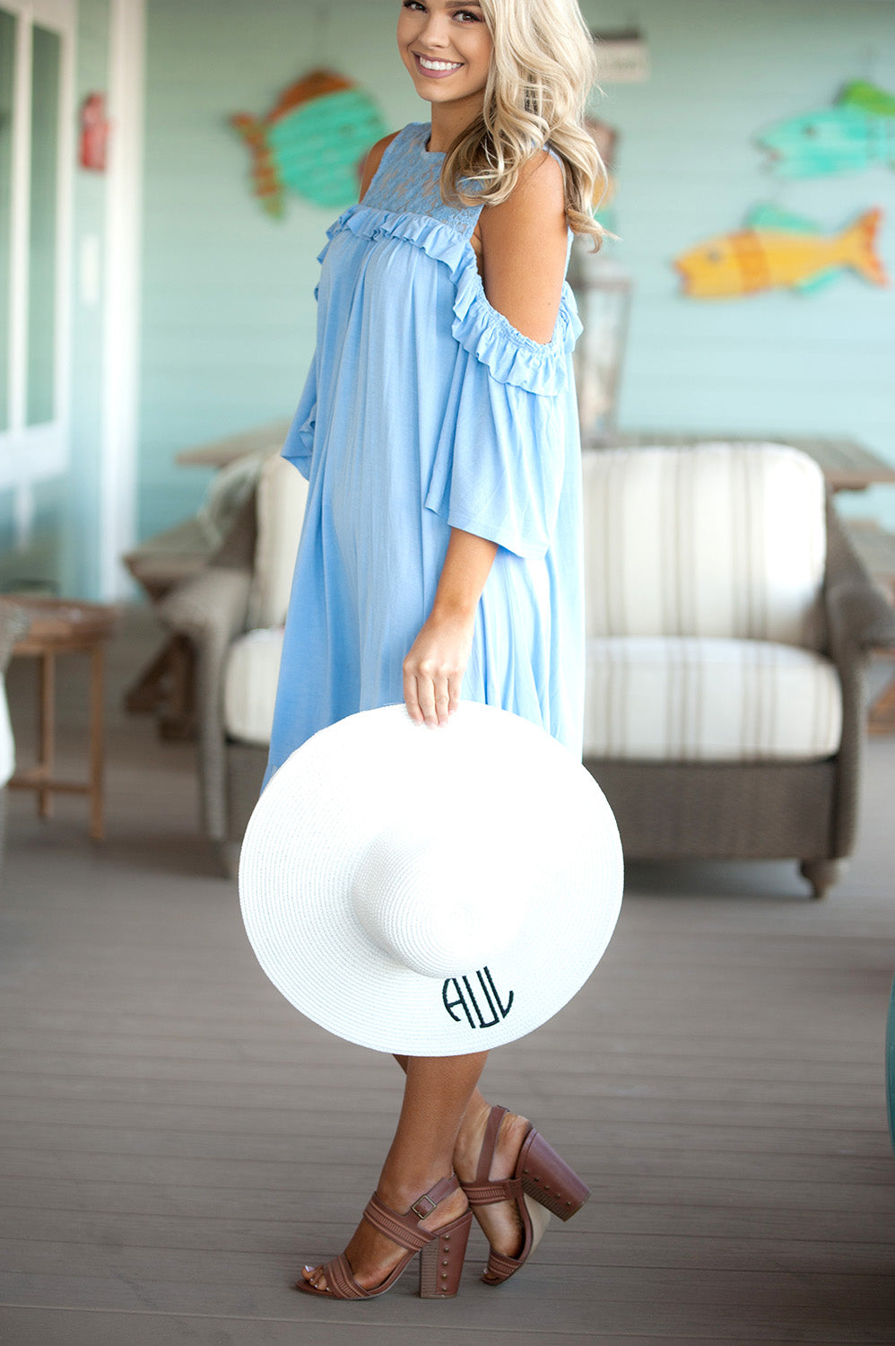 Monogrammed White Adult Floppy Hat
