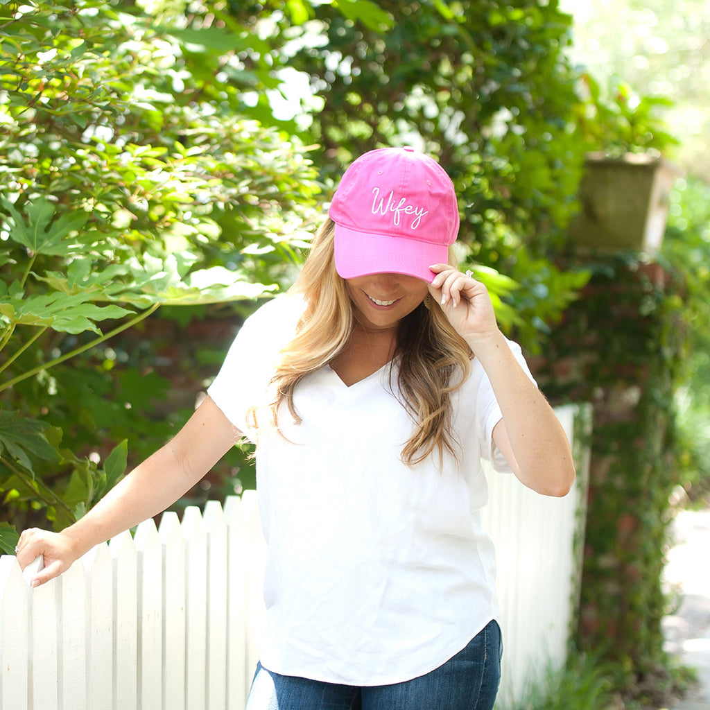 Hot Pink Wifey Cap in White Thread