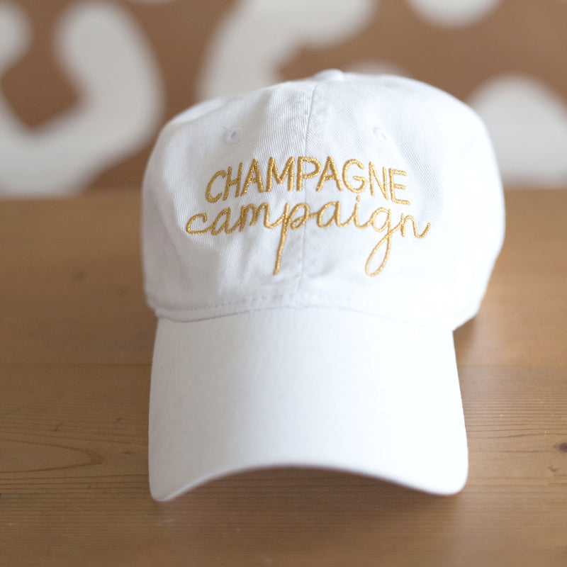 White Champagne Campaign Cap in Gold Thread