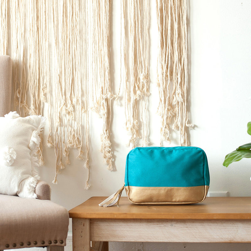 Teal Cabana Cosmetic Bag