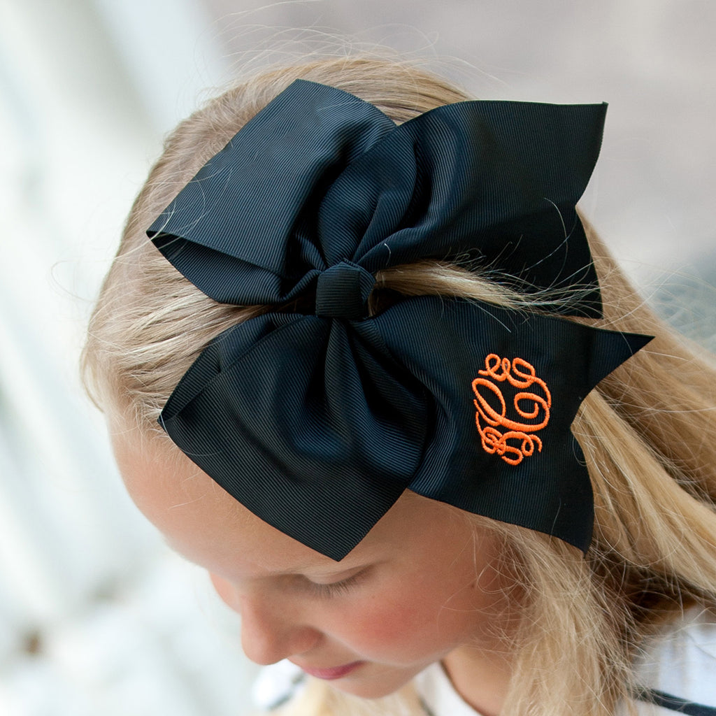 Monogrammed Black Hair Bow