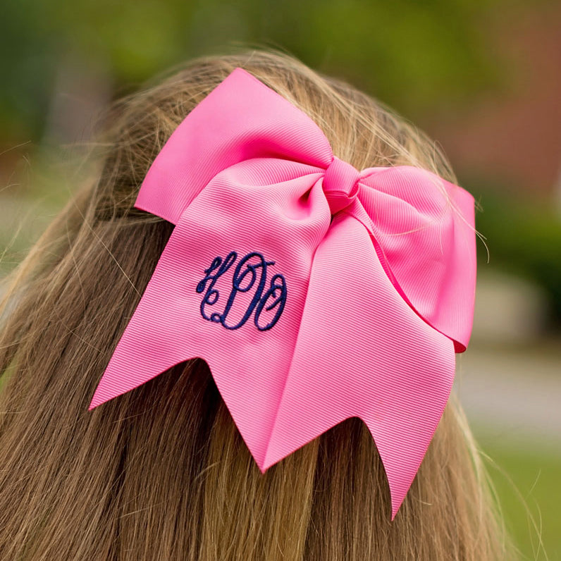 Monogrammed Hot Pink Hair Bow