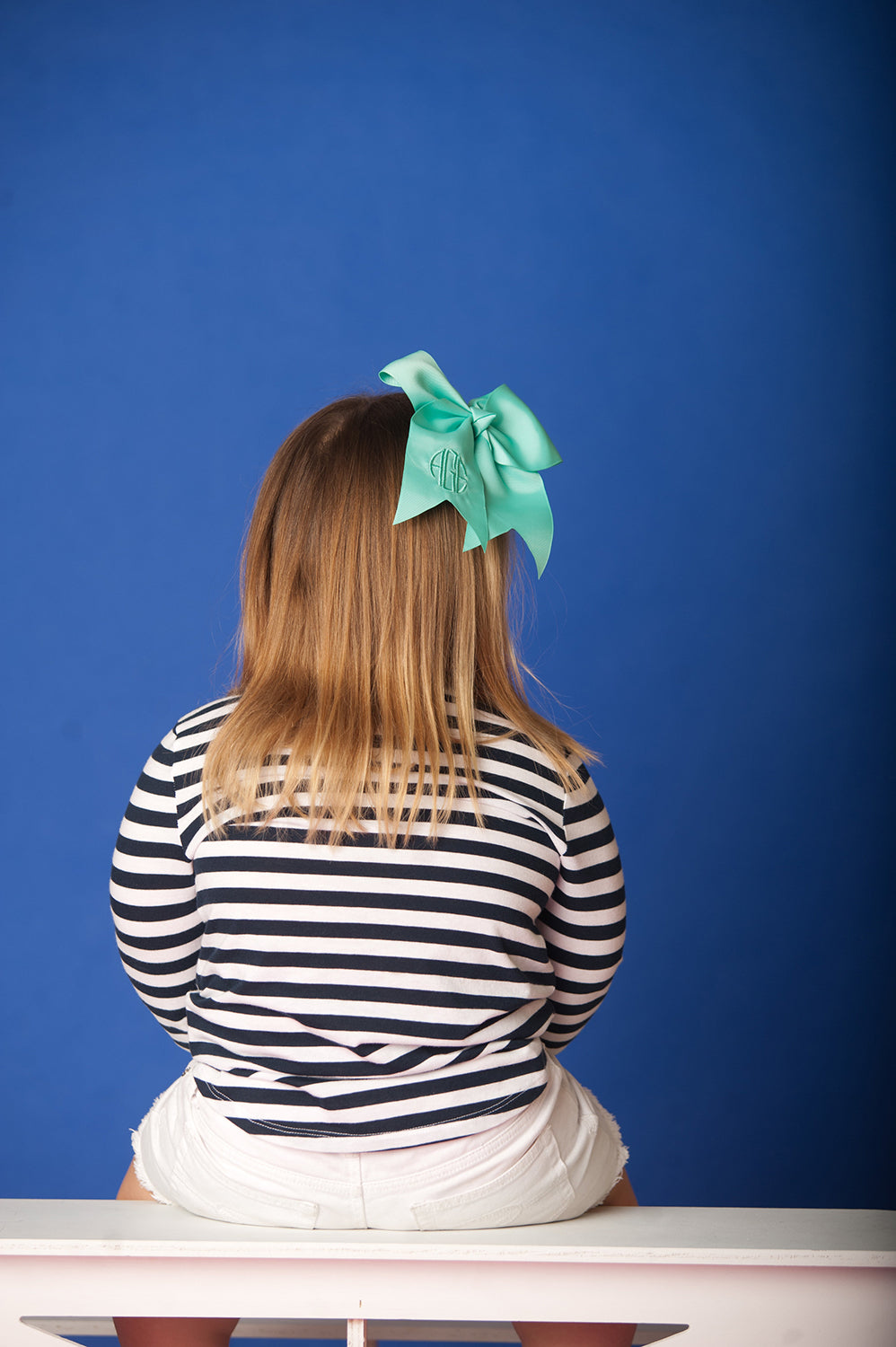 Monogrammed Mint Hair Bow