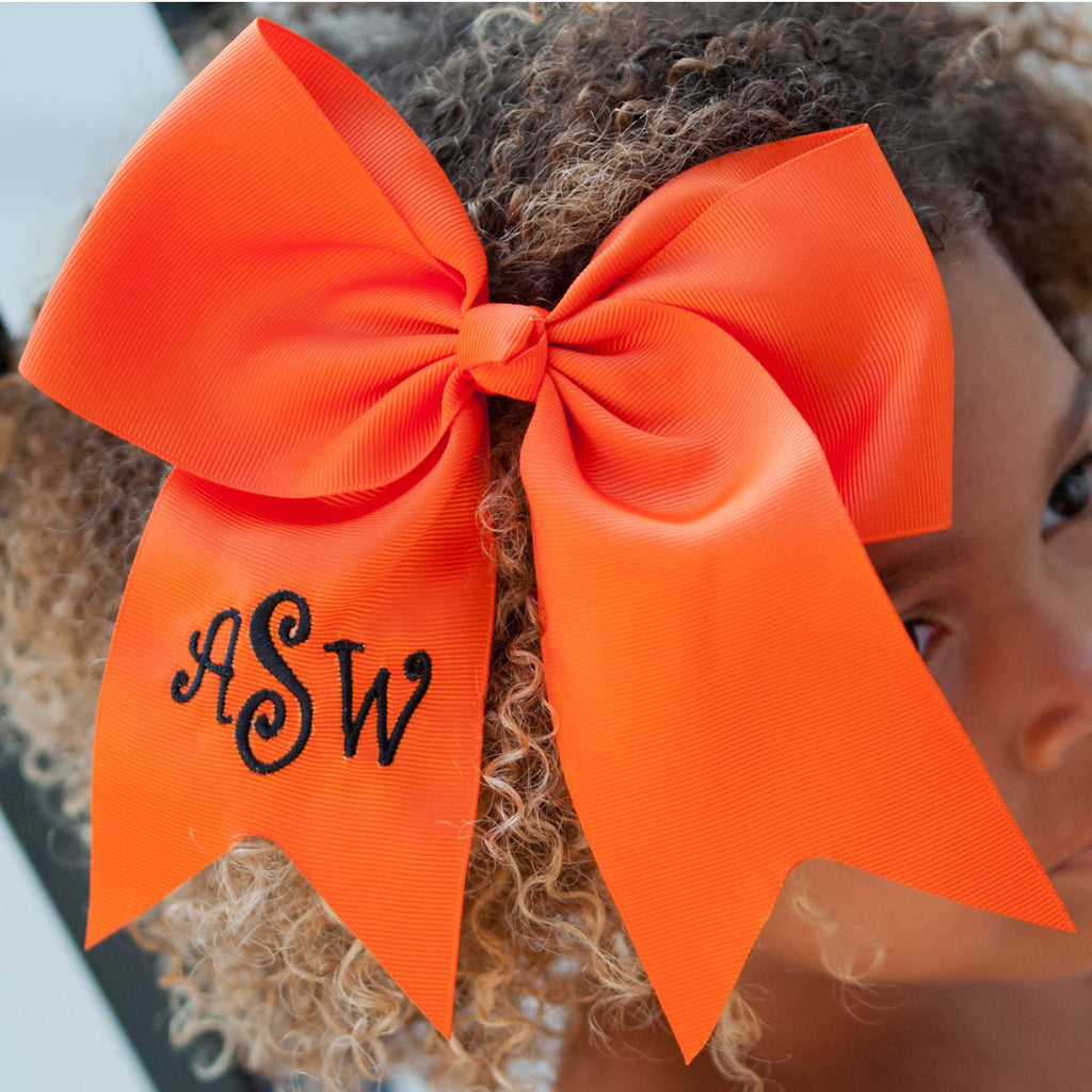 Monogrammed Orange Hair Bow