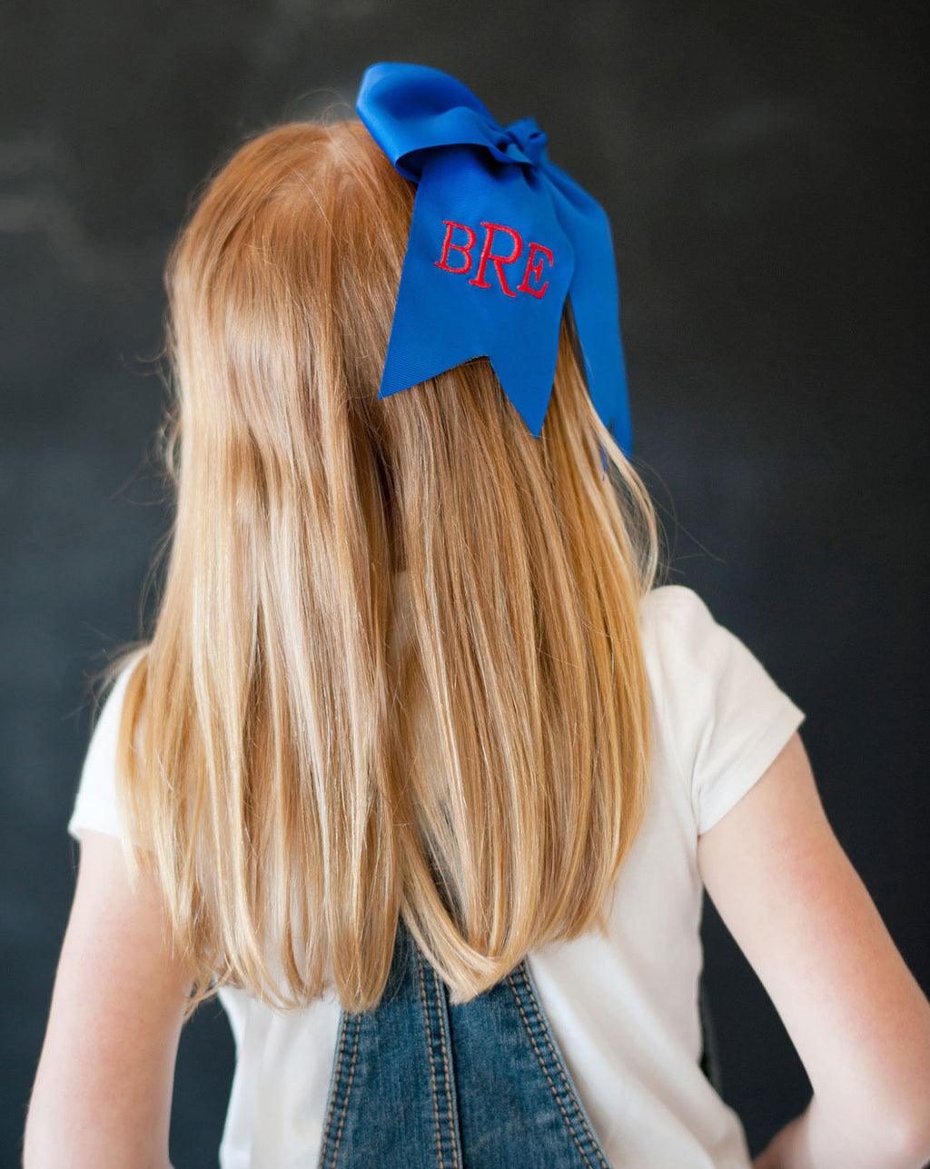 Monogrammed Royal Blue Hair Bow