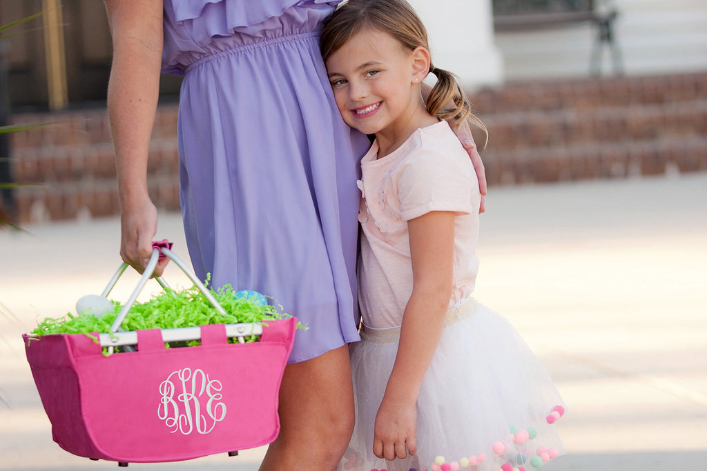 Monogrammed Mini Hot Pink Market Tote