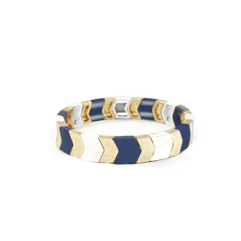 Navy Stretch Chevron Bracelet