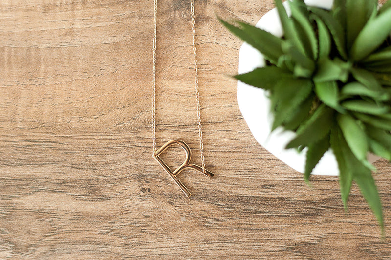 R Gold Initial Necklace