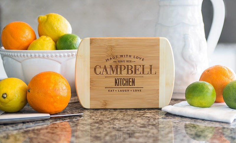 Personalized 6x8 Bamboo Cutting Board with Rounded Edge