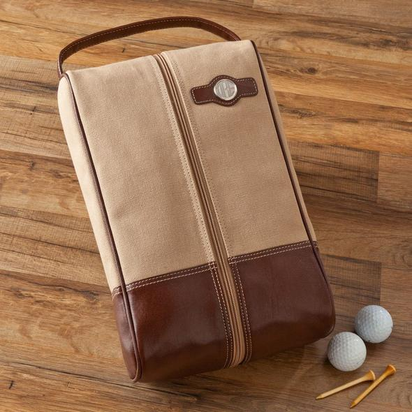 Personalized Golf Shoe Bag - Leather and Canvas