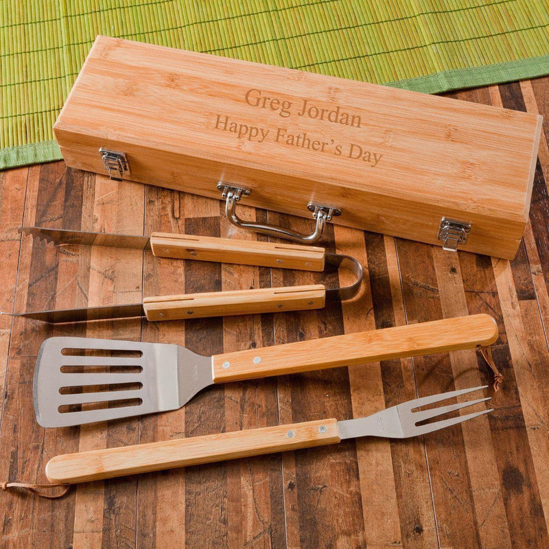 Personalized Grill Utensil Tool Set with Bamboo Case