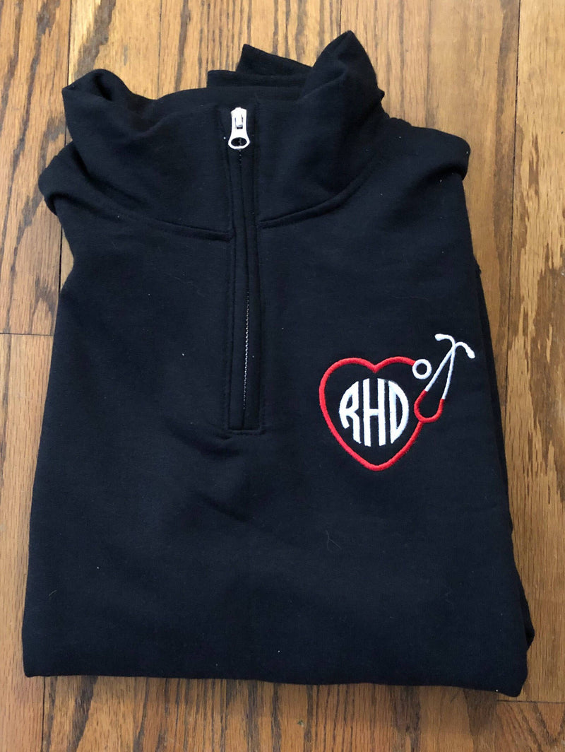 Monogrammed Stethoscope Pull-Over Zip Up - Great Nursing School Graduation Present