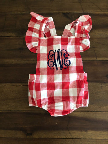 4f244c650 Baby Girl Red Gingham Bow Monogrammed Bubble | Monogrammed Ruffles Romper  Sunsuit and Headband | Monogrammed Baby Gift