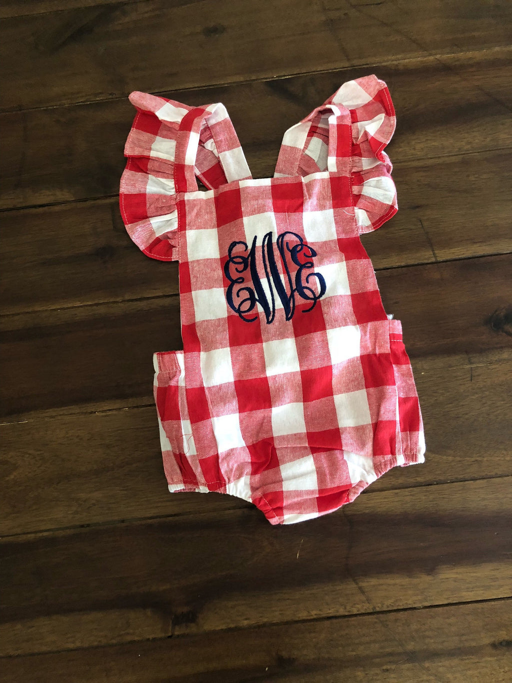 Baby Girl Red Gingham Bubble