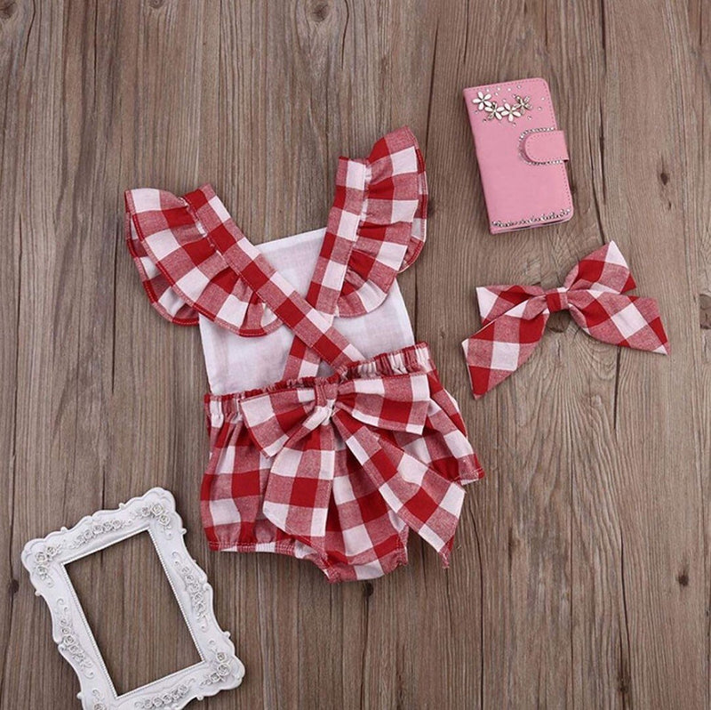 Watermelon Birthday Outfit | Red Gingham Monogrammed Bubble | Monogrammed Ruffles Romper Sunsuit and Headband