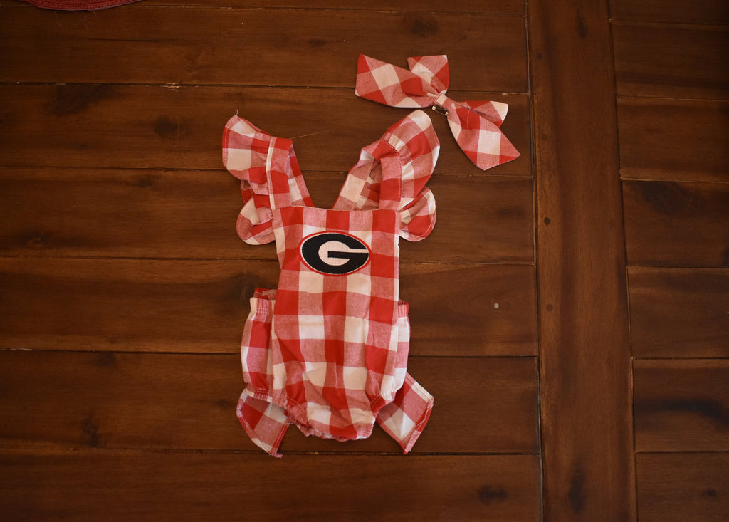 Baby Girl Georgia Red Gingham Bubble