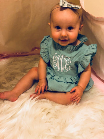 2a65806edacc Baby Girl Teal Monogrammed Bubble   Infant Monogrammed Ruffles Romper  Sunsuit   Monogrammed Baby Gift