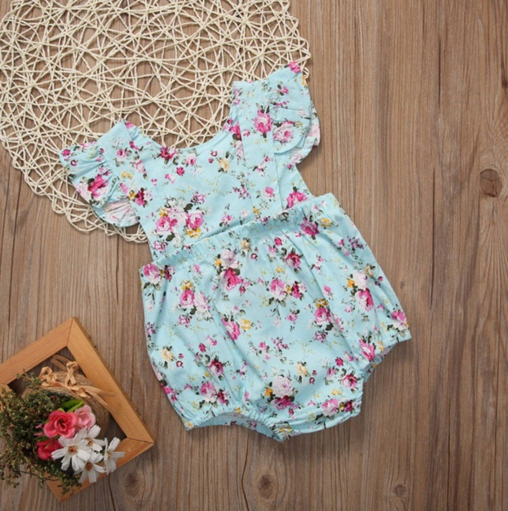 Baby Girl Teal Floral Bubble