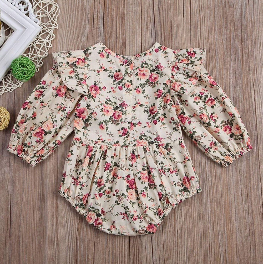 95a9ad0104352 Baby Girl Fall Floral Monogrammed Long Sleeve Bubble | Maroon Monogrammed  Ruffles Romper Long Sleeve | Monogrammed Baby Gift