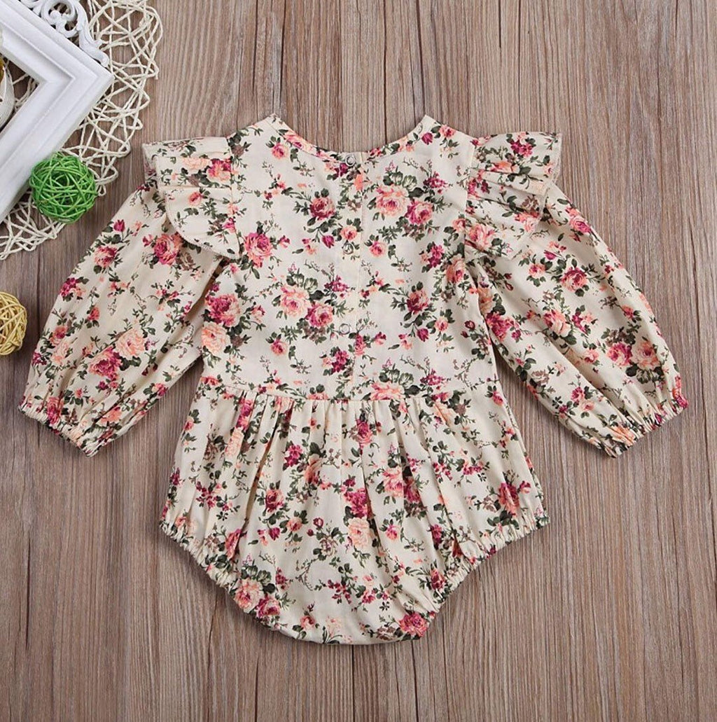 Baby Girl Ruffle Long Sleeve Fall Floral Bubble Romper