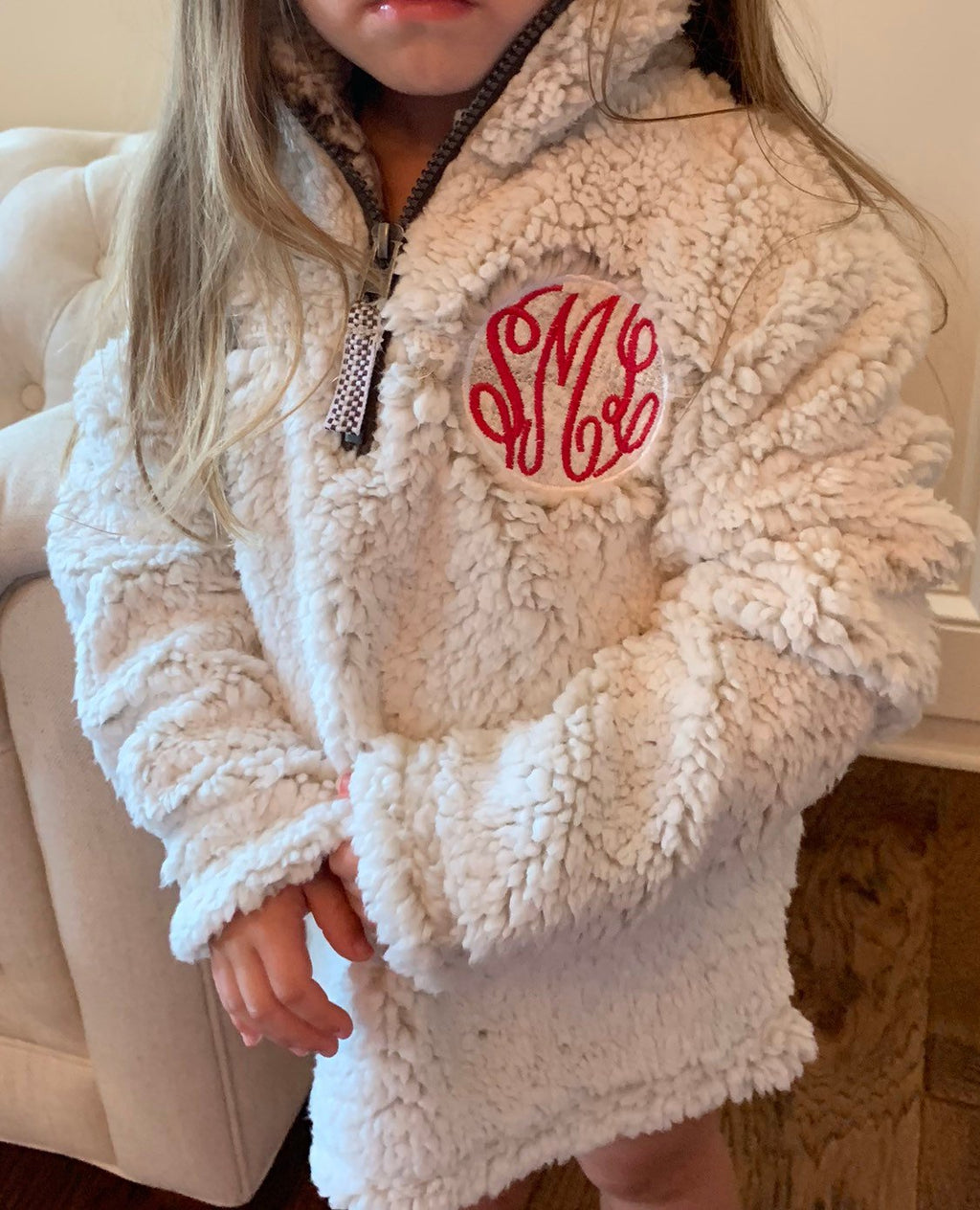 Monogrammed Youth Toddler 1/4 Zip Sherpa | Girls Monogrammed Quarter Zip Sherpa | Monogrammed Girls Christmas Present