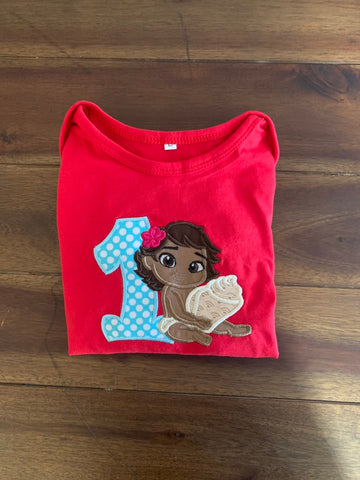 a66d7ef28 Baby Moana Applique Birthday Shirt | Ruffled Long Sleeve Baby Moana Romper  | Moana First Birthday Outfit. $25.00. Girls Monogrammed ...