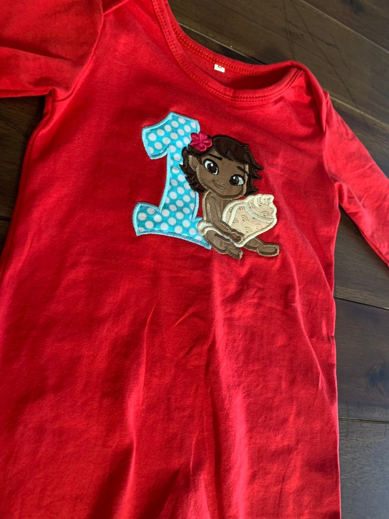 Baby Moana Applique Birthday Shirt