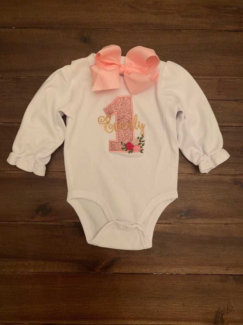 158d189bf Girls Floral Rose Birthday Shirt | Baby Girl Number Age Floral Birthday  Onesie | First Birthday
