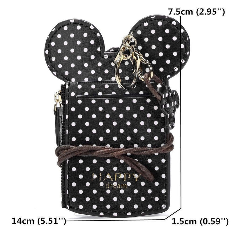Polka Dot Monogrammed Disney Mickey Minnie Mouse Coin Purse Lanyard | Fish Extender Gift | Disney ID Wallet