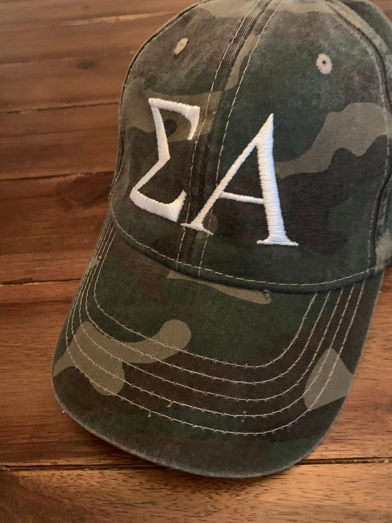 Sorority Camo Hat | Greek Letters Camo Baseball Cap | Custom Monogrammed Sorority Gift | Birthday Gift