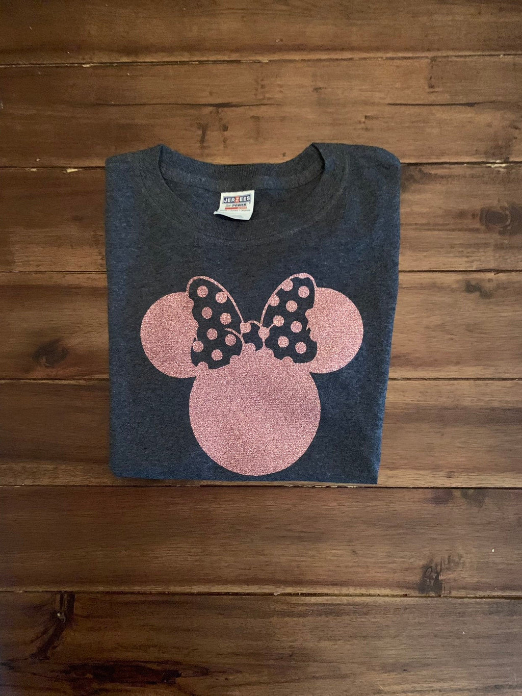 Girls Disney Rose Gold Minnie Head Shirt  | Rose Gold Glitter Disney Top | Personalized Minnie Disney Vacation Shirt
