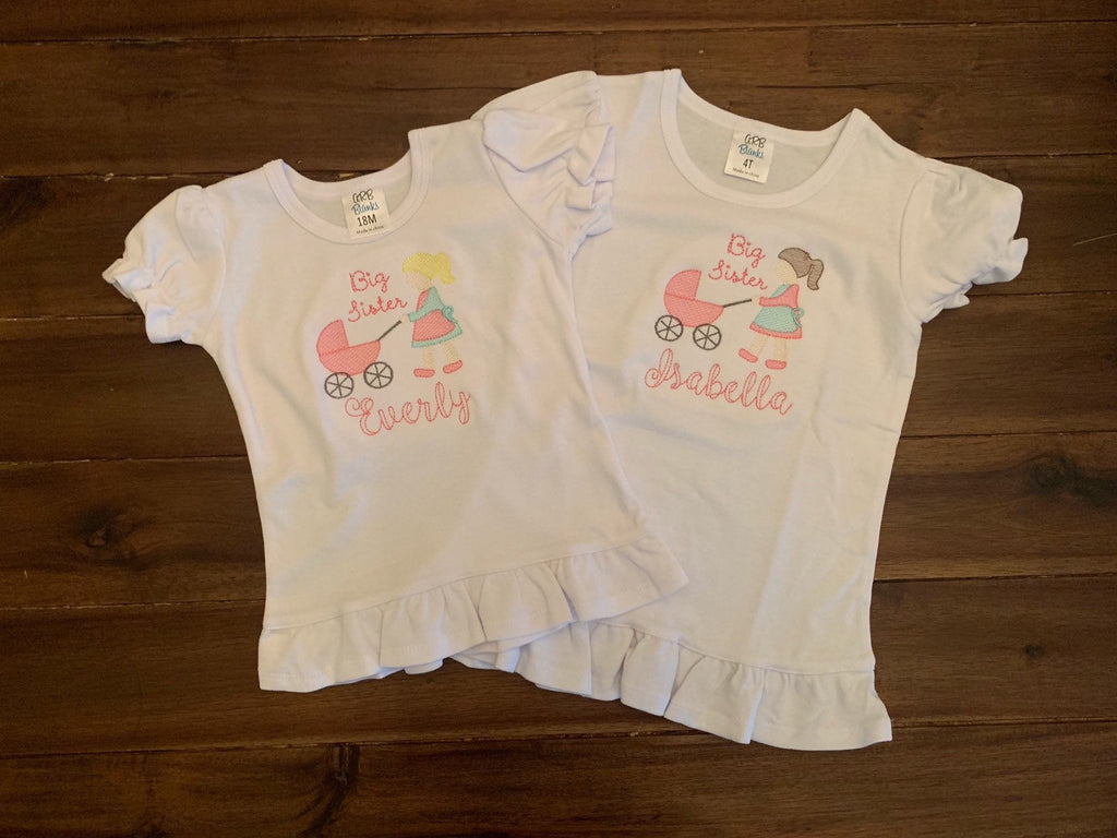 Big Sister Carriage Embroidered Ruffled Shirt | Big Sister Pushing Little Sister in Carriage Shirt | Personalized Vintage Stitch Big Sister