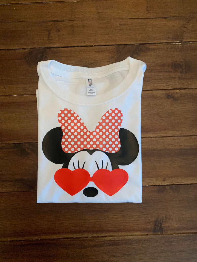 Disney Minnie Girl Heart Eye Sunglasses Shirt  | Girl Minnie Sunglasses Top | Personalized Minnie Disney Vacation Shirt