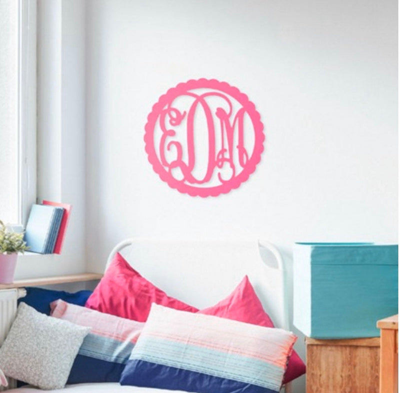 Wooden Scallop Vine Monogram Sign | Monogrammed Wood Wall Art Unfinished | Paint Your Own Monogram | Birthday Party Girls Night Activity